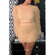 Lovely Casual Tassel Design Khaki Two-piece Skirt