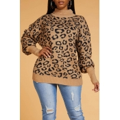 Lovely Chic Leopard Coffee Sweater