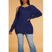 Lovely Chic Dew Shoulder Blue Sweater