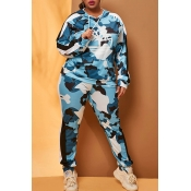 Lovely Casual Hooded Collar Camo Blue Plus Size Tw