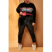 Lovely Casual Patchwork Black  Plus Size Two-piece