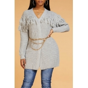 Lovely Chic Tassel Design Grey Cardigan