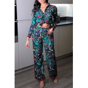 Lovely Casual Floral Print Multicolor Two-piece Pa