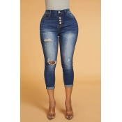 Lovely Trendy Broken Holes Blue Denim Jeans
