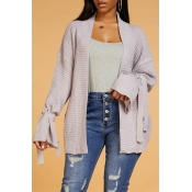 Lovely Casual Lace-up Light Purple Cardigan