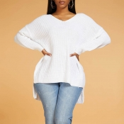 Lovely Leisure Basic Loose White Sweater