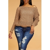 Lovely Casual Hollow-out Khaki Sweater