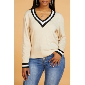 Lovely Casual V Neck Apricot Sweater