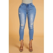 Lovely Trendy Mid Waist Broken Hole Blue Jeans