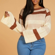 Lovely Casual O Neck Striped Light Tan Sweater