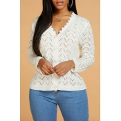 Lovely Sweet V Neck Hollow-out White Cardigan