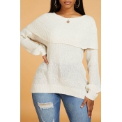 Lovely Leisure O Neck Patchwork Creamy White Sweat