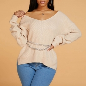 Lovely Leisure V Neck Side Slit Apricot Sweater