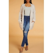 Lovely Casual Pocket Patched Light Grey Cardigan