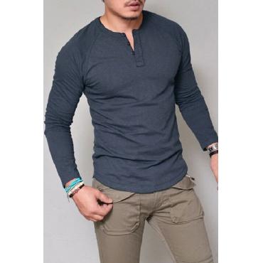 Lovely Casual Basic Blue T-shirt