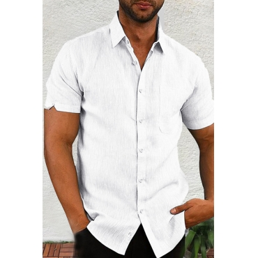 Lovely Casual Turndown Collar Short Sleeve Basic White Shirt