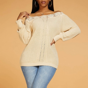 Lovely Chic Patchwork Apricot Sweater