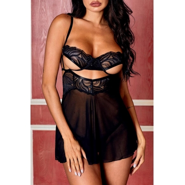 Lovely Chic Hollow-out Black Babydolls