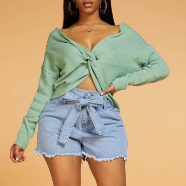 Lovely Casual Cross Straps Green Sweater