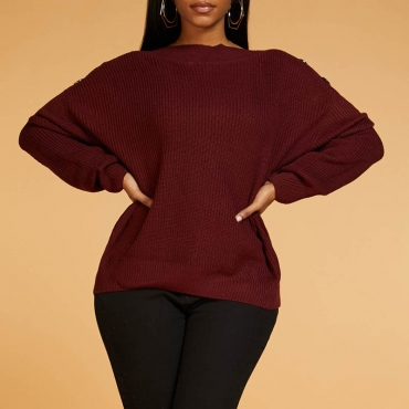 Lovely Casual Basic Wine Red Sweater