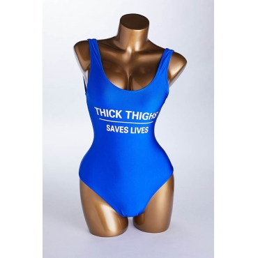 Lovely Letter Royalblue One-piece Swimsuit