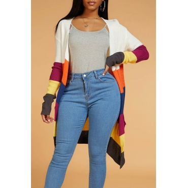 Lovely Casual Color-lump Patchwork Multicolor Cardigan