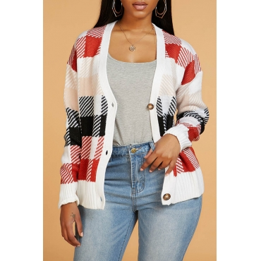 Lovely Casual Plaid Jacinth Cardigan