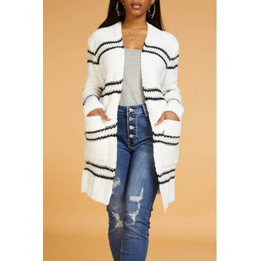 Lovely Casual Striped White Cardigan