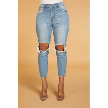 Lovely Casual  Hollow- out  Baby Blue Jeans