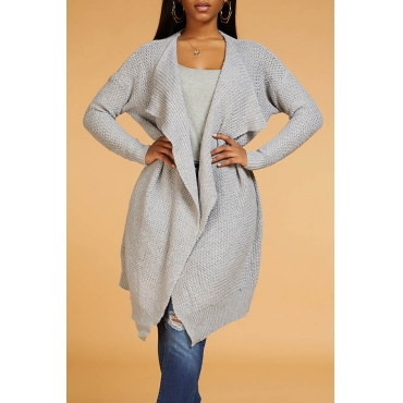 Lovely Casual Loose Grey Cardigan