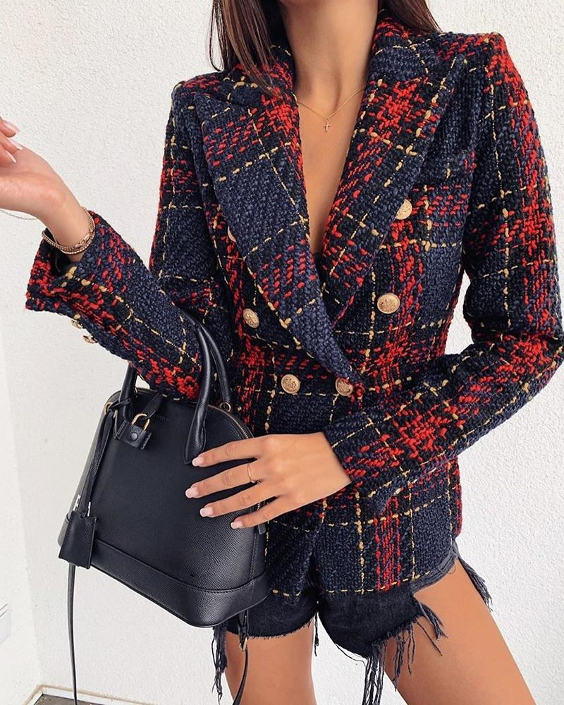 Lovely Casual Plaid Buttons Design Red Blazer