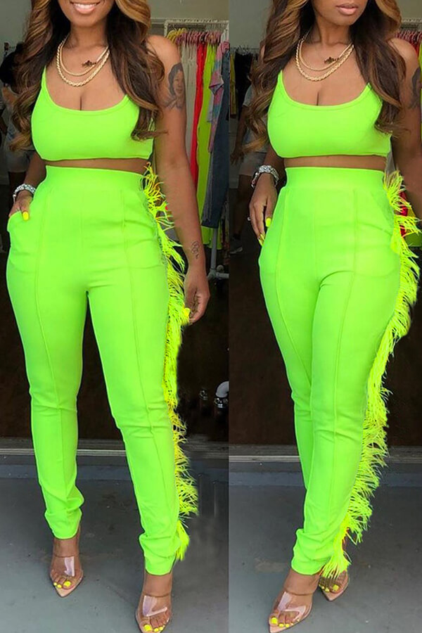 Lovely Casual Spaghetti Strap Tassel Green Two-piece Pants Set