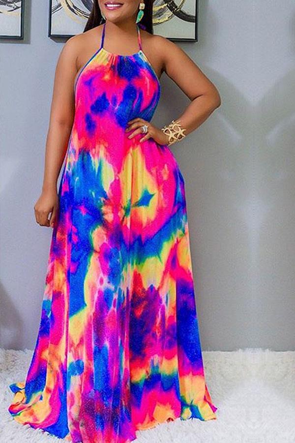 Lovely Casual Spaghetti Strap Print Multicolor Maxi Dress