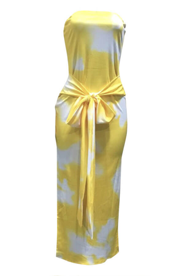 Lovely Chic Print Yellow Mid Calf Dress