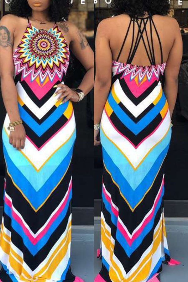Lovely Casual Halter Print Multicolor Maxi Dress