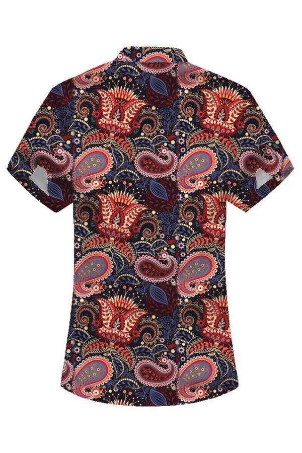 Lovely Bohemian Print Black Shirt