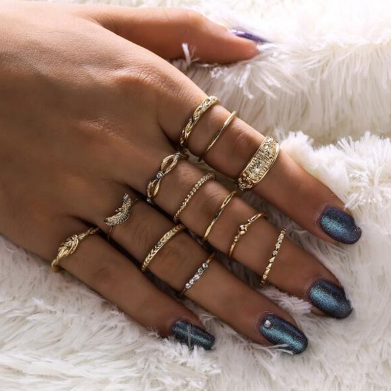 Lovely Chic Make Old 12-piece Gold Ring