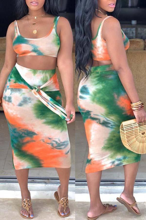 Lovely Leisure Print Croci Two-piece Skirt Set