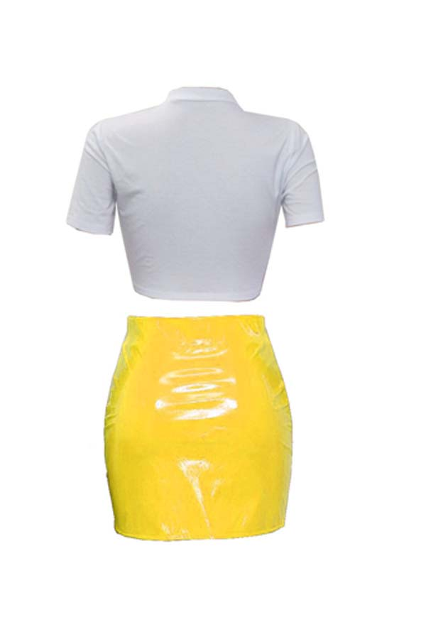 Lovely Casual Print Yellow Two-piece Skirt Set