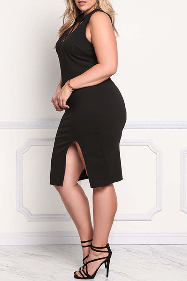 Lovely Casual Skinny Basic Black Plus Size Dress