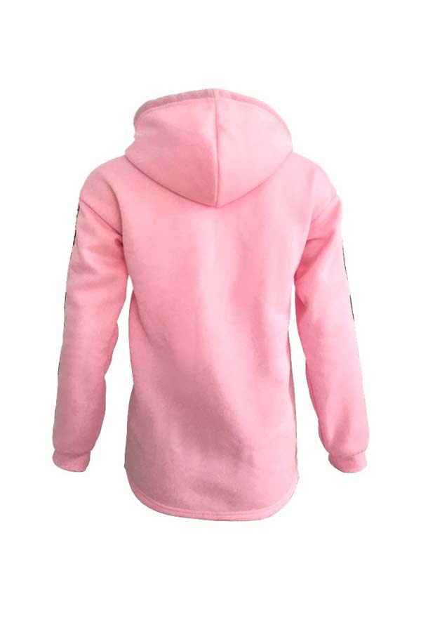 Lovely Casual Hooded Collar Pink Plus Size Hoodie