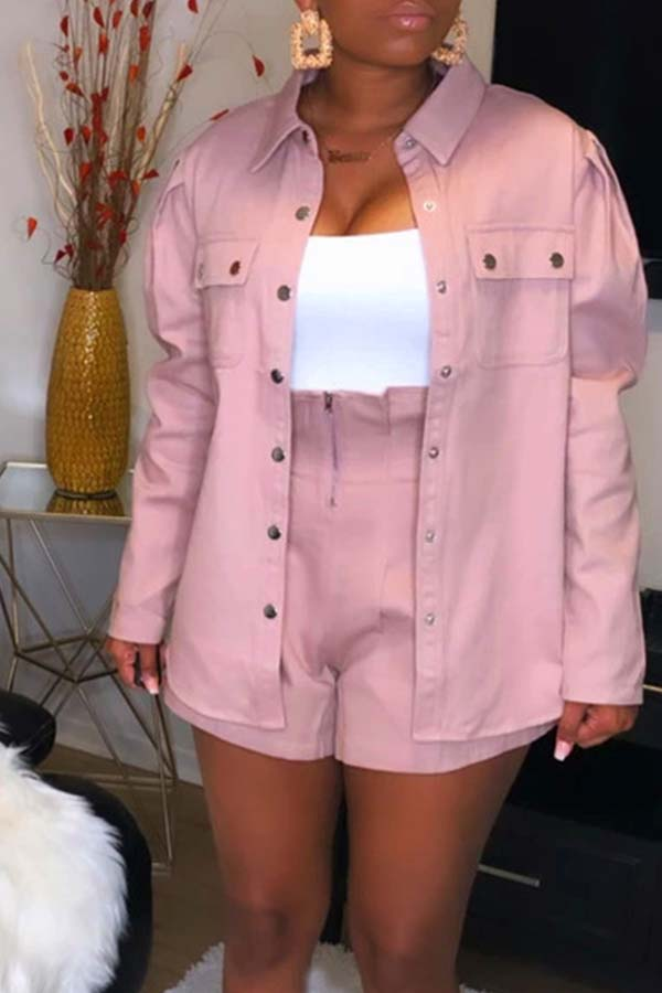 Lovely Chic Button Pink Two-piece Shorts Set