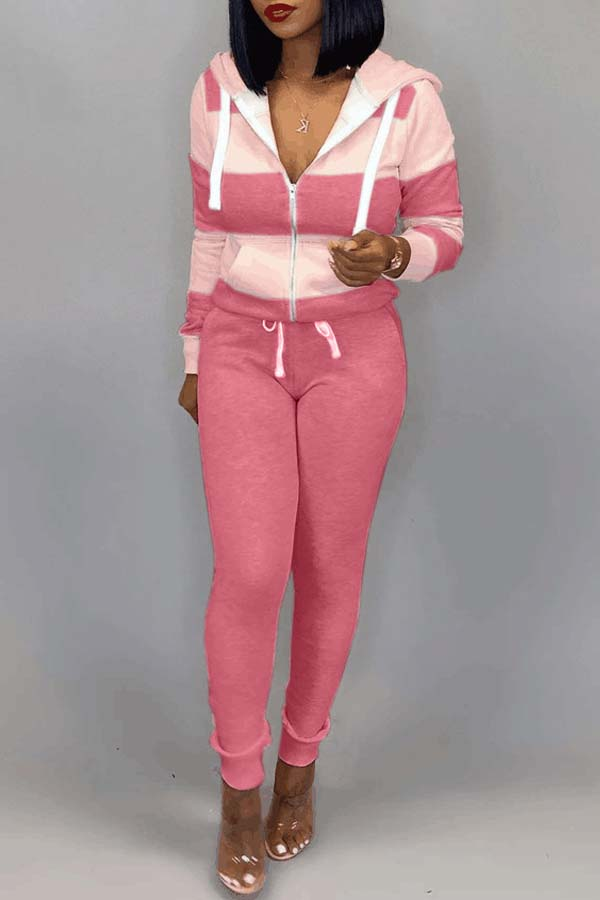Lovely Casual Striped Pink Two-piece Pants Set lovelywholesale фото