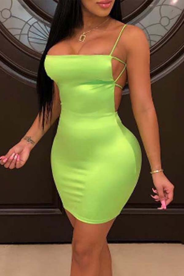 Lovely Chic Backless Green Mini Dress фото