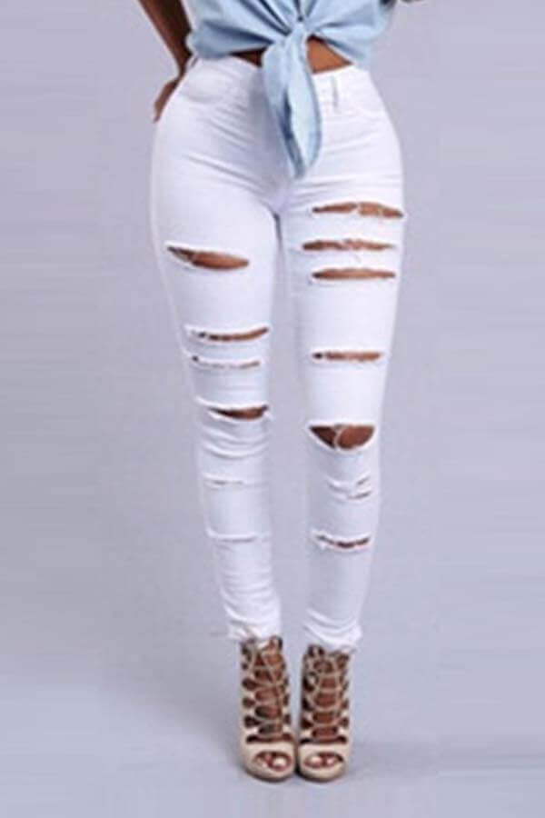 Lovely Casual Broken Hole White Pants