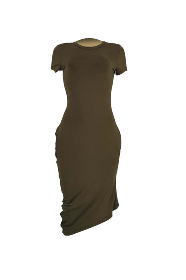 Lovely Casual Asymmetrical Army Green Mid Calf Dress