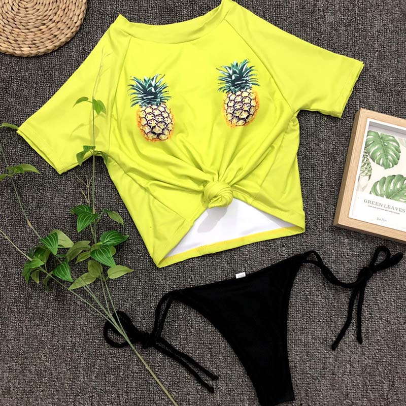 Lovely Bohemian Floral Print Yellow Two-piece Swimsuit
