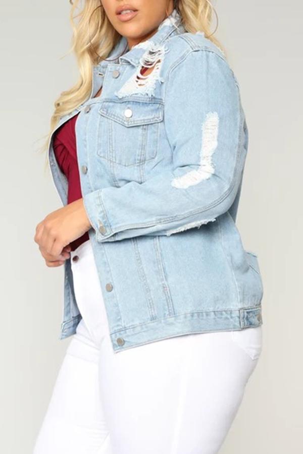 Lovely Casual Turndown Collar Broken Holes Blue Plus Size Jacket