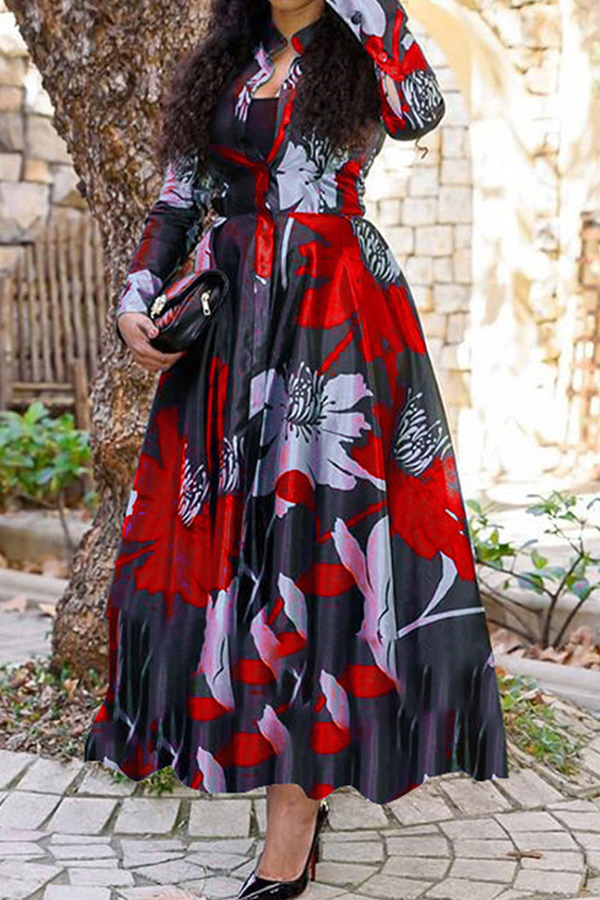 Lovely Casual Print Red Ankle Length Dress фото