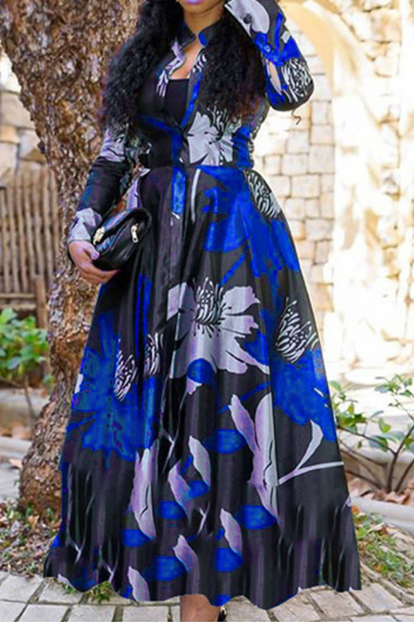 Lovely Casual Print Blue Ankle Length Dress фото